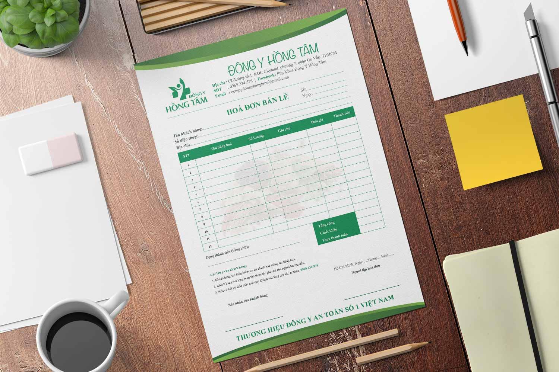 Thiết kế hoá đơn bán lẽ Đông Y Hồng Tâm