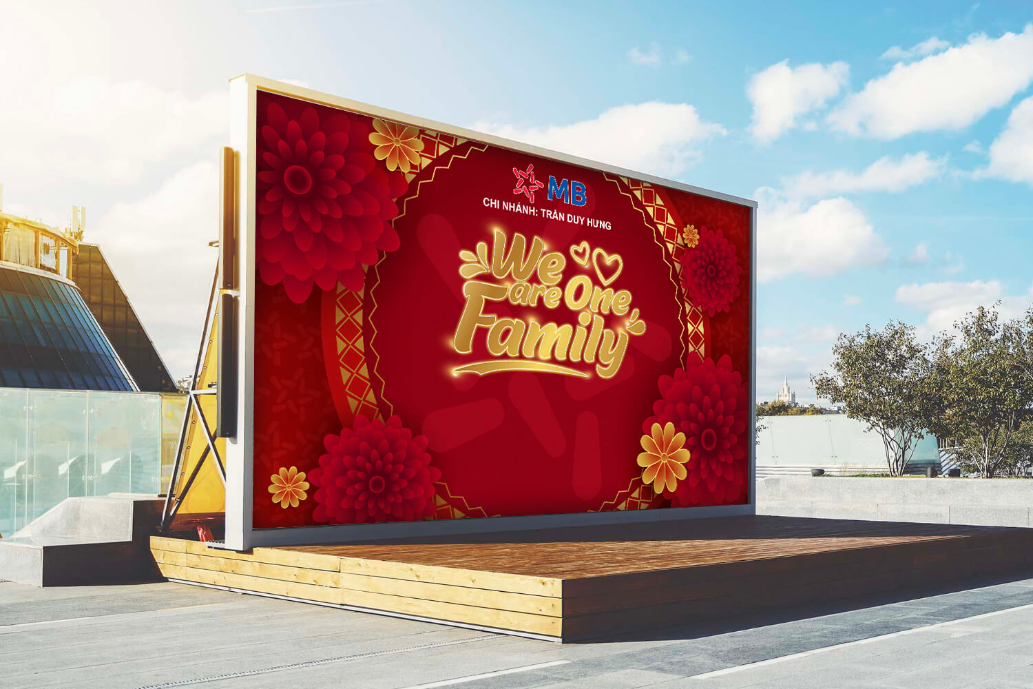 Thiết kế Backdrop MB – We Are One Family